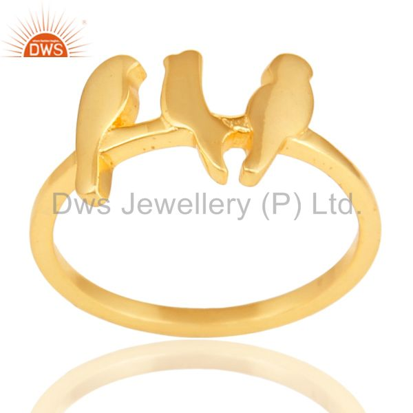 14K Yellow Gold Plated 925 Sterling Silver Handmade Birds Design Stackable Ring