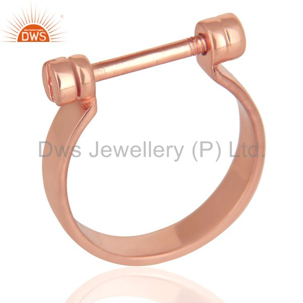14K Rose Gold Plated 925 Sterling Silver Handmade Lock Style Openable Ring
