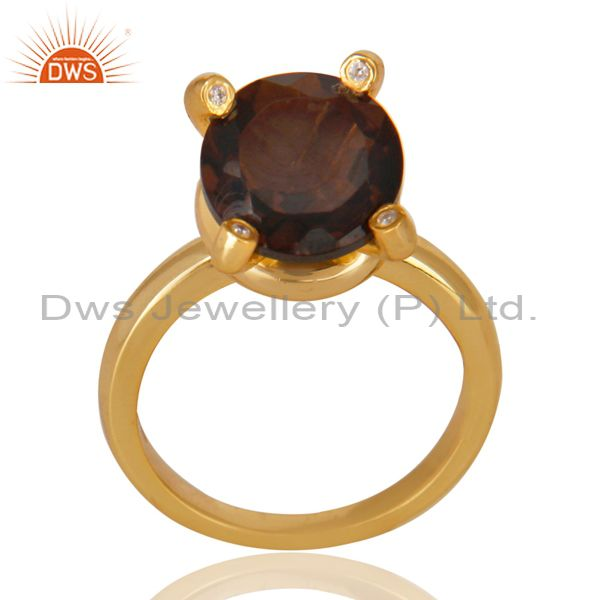 14K Yellow Gold Plated 925 Sterling Silver Smokey Topaz & CZ Prong Set Ring