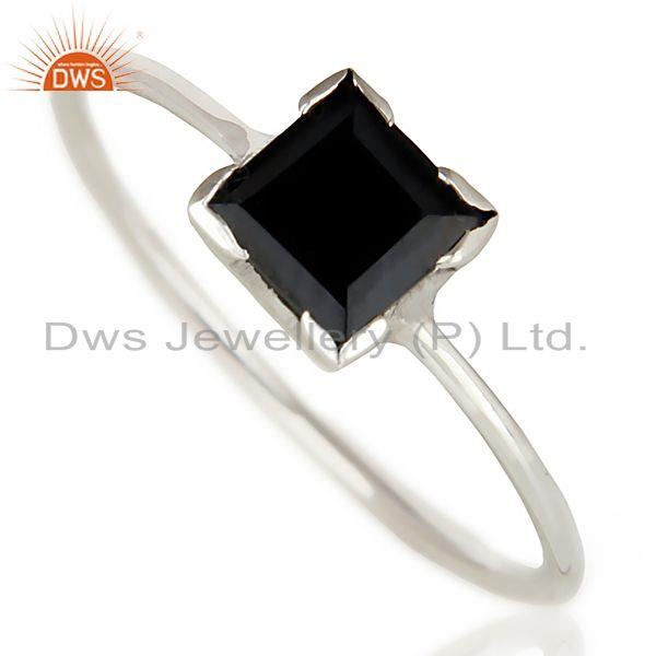 Handmade 925 Sterling Silver Black Onyx Gemstone Stackable Ring Jewelry