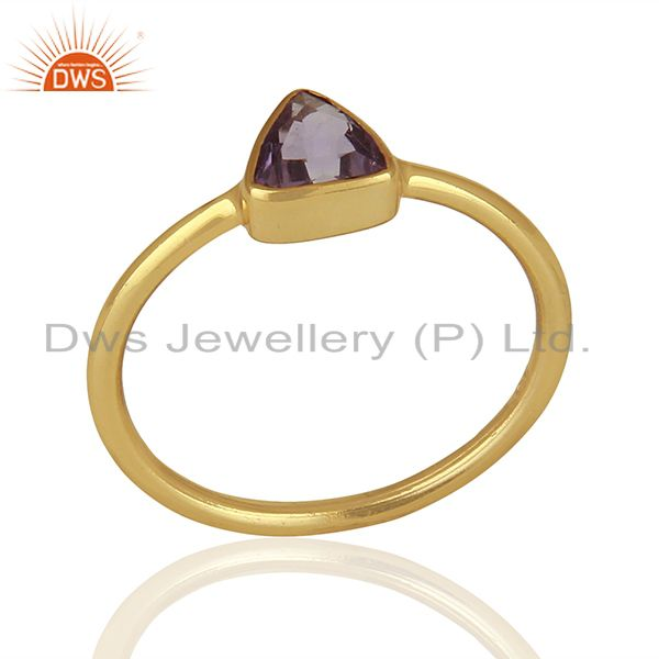 February Birthstone Amethyst Gold Plated 925 Silver Gift Rings Jewelry