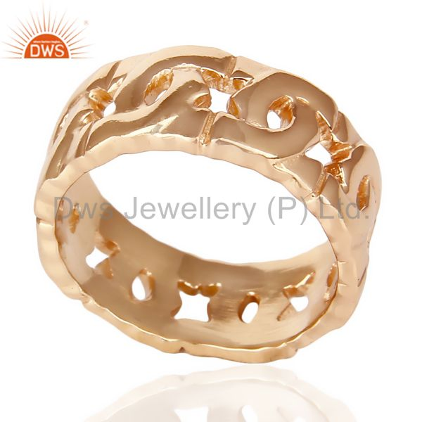 14K Rose Gold Plated 925 Sterling Silver Art Deco Band Ring Gift Jewelry