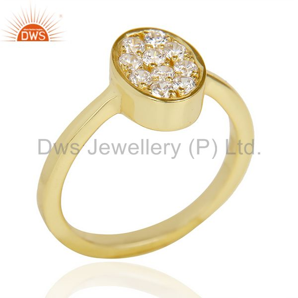 White Cz Oval Shape 14K Gold Plated 92.5 Sterling Silver Solid Ring