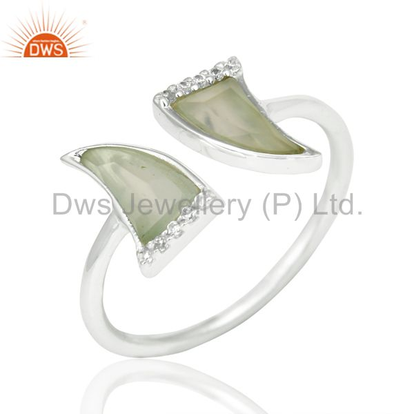 Aqua Chalcedony Two Horn Cz Studded Openable Adjustable 92.5 Sterling SilverRing