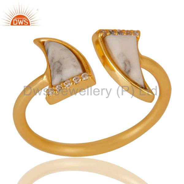 Howlite Two Horn Cz Studded Adjustable 14K Gold Plated 92.5 Silver Ring