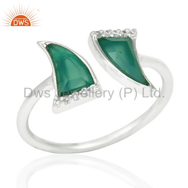 Green Onyx Two Horn Cz Studded Adjustable Openable 92.5 Sterling Silver Ring