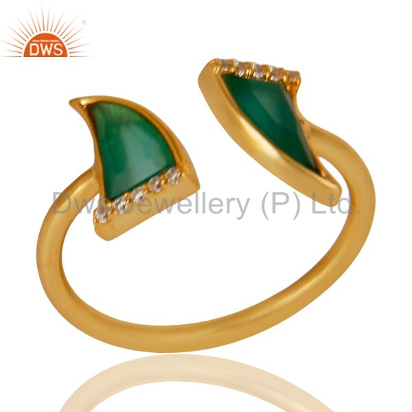 Green Onyx Two Horn Cz Studded Adjustable 14K Gold Plated 92.5 Silver Ring