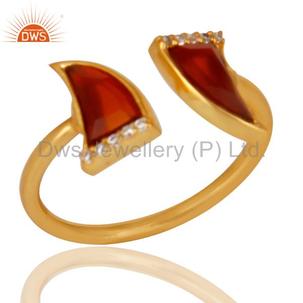 Red Onyx Two Horn Cz Studded Adjustable 14K Gold Plated 92.5 Silver Ring