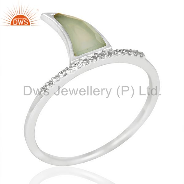 Aqua Chalcedony Horn Cz Studded Adjustable 92.5 Sterling Silver Ring