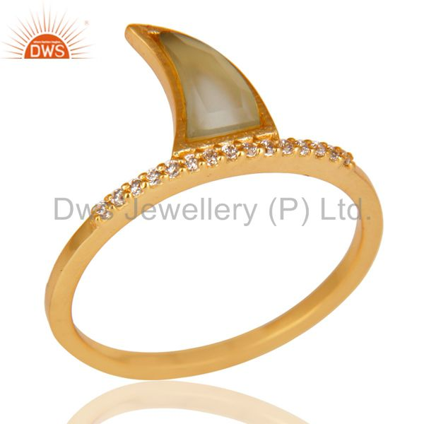 Aqua Chalcedony Horn Cz Studded Adjustable 14K Gold Plated 92.5 Silver Ring