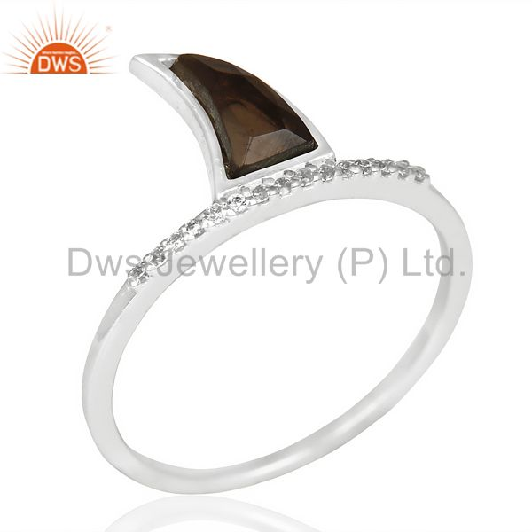 Smoky Topaz Horn Cz Studded Adjustable 92.5 Sterling Silver Ring