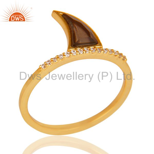 Smoky Topaz Horn Cz Studded Adjustable 14K Gold Plated 92.5 Sterling Silver Ring