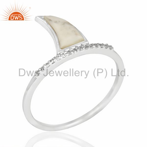 Howlite Horn Cz Studded Adjustable 92.5 Sterling Silver Ring