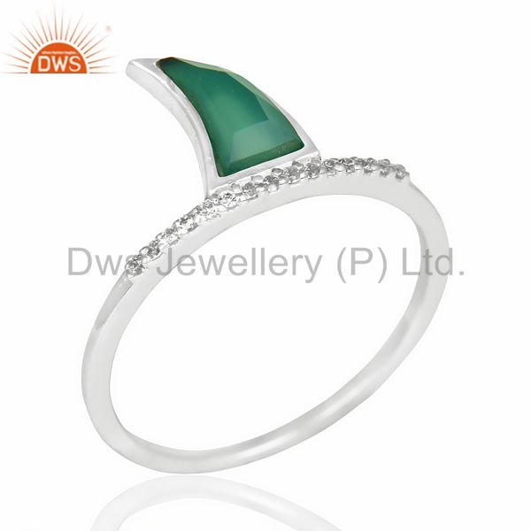 Green Onyx Horn Cz Studded Adjustable 92.5 Sterling Silver Ring