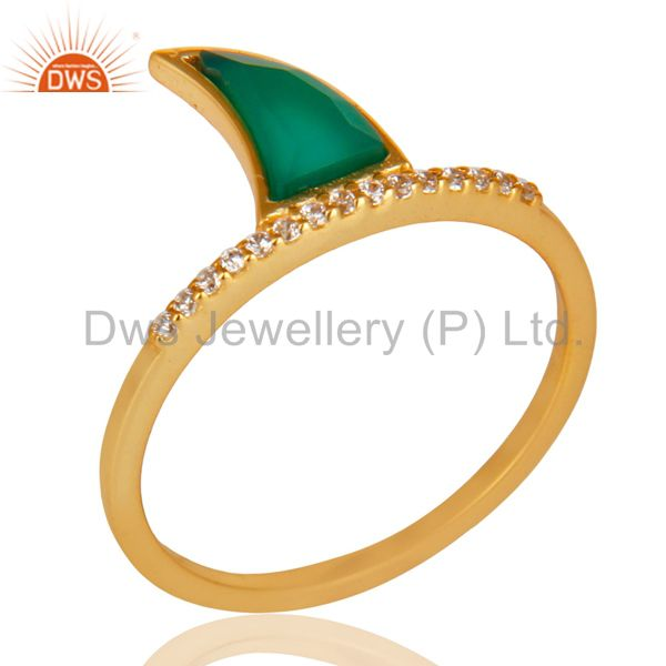 Green Onyx Horn Cz Studded Adjustable 14K Gold Plated 92.5 Sterling Silver Ring