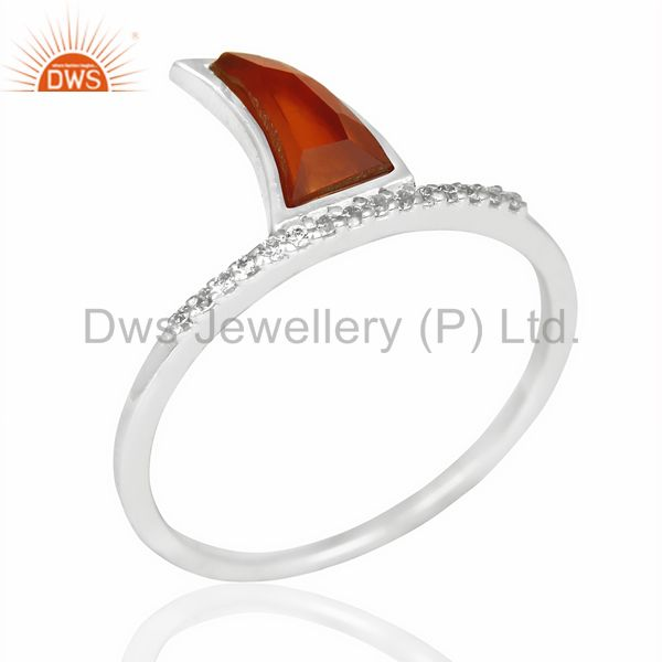 Red Onyx Horn Cz Studded Adjustable 92.5 Sterling Silver Ring