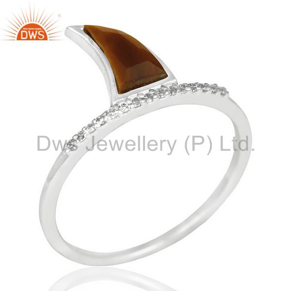 Tigereye Horn Cz Studded Adjustable 92.5 Sterling Silver Ring