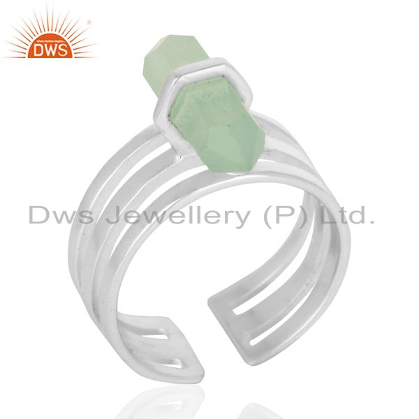 Aqua Chalcedony Wide Horn Adjustable Openable 92.5 Sterling Silver Ring