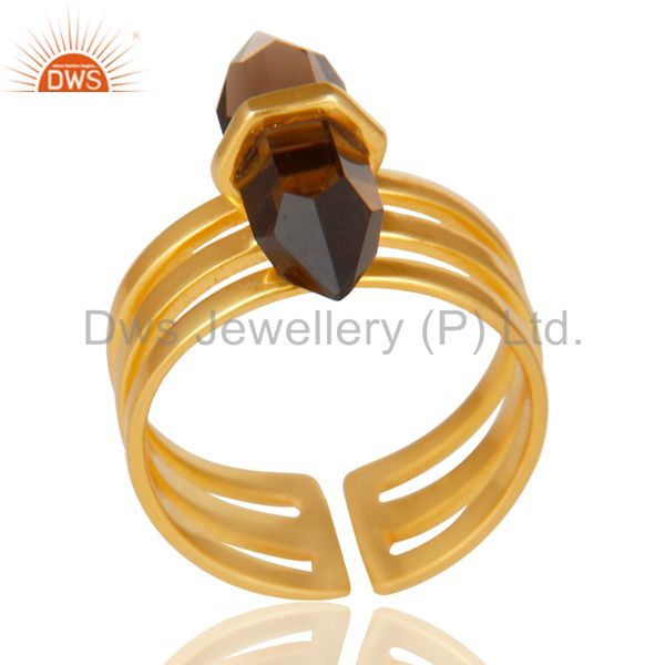 Smoky Topaz Wide Horn Adjustable 14K Gold Plated Sterling Silver Ring