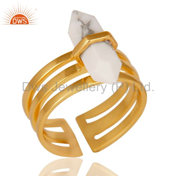 Howlite Wide Horn Adjustable 14K Gold Plated Sterling Silver Ring