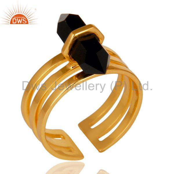 Black Onyx Wide Horn Adjustable 14K Gold Plated Sterling Silver Ring