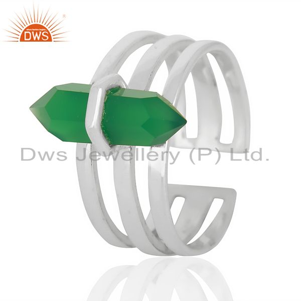 Green Onyx Wide Horn Adjustable Openable 92.5 Sterling Silver Ring