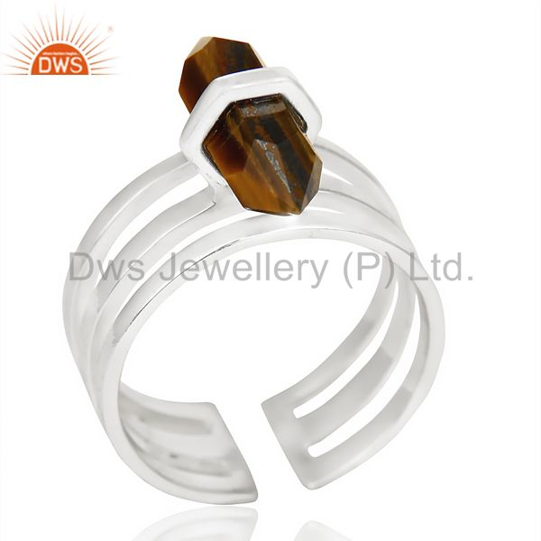 Tigereye Wide Horn Adjustable Openable 92.5 Sterling Silver Ring