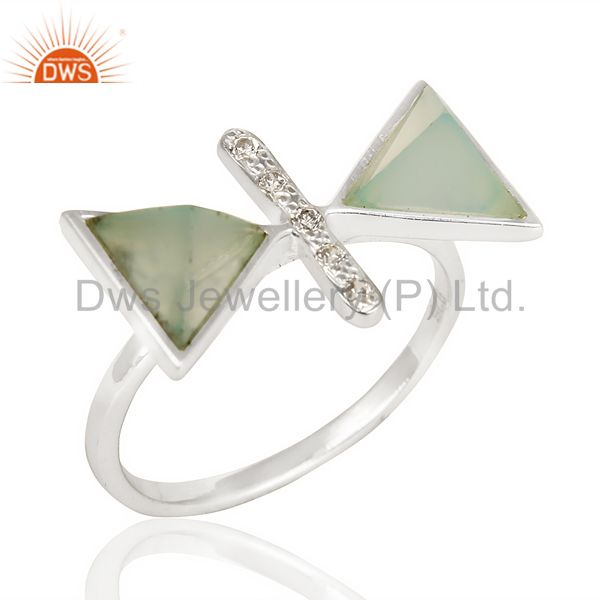 Aqua Chalcedony Triangle Cut Pyramid Cz Studded Solid 92.5 Sterling Silver Ring