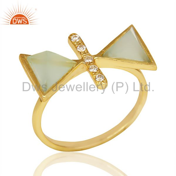 Aqua Chalcedony Triangle Cut Pyramid Cz Studded 14 K Gold Plated Silver Ring