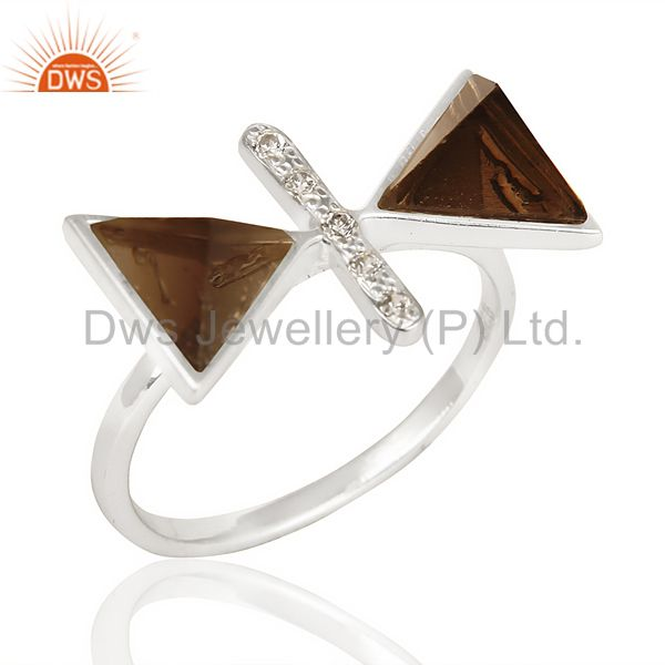 Smoky Topaz Triangle Cut Pyramid Cz Studded Solid 92.5 Sterling Silver Ring