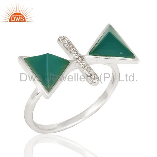 Green Onyx Triangle Cut Pyramid Cz Studded Solid 92.5 Sterling Silver Ring