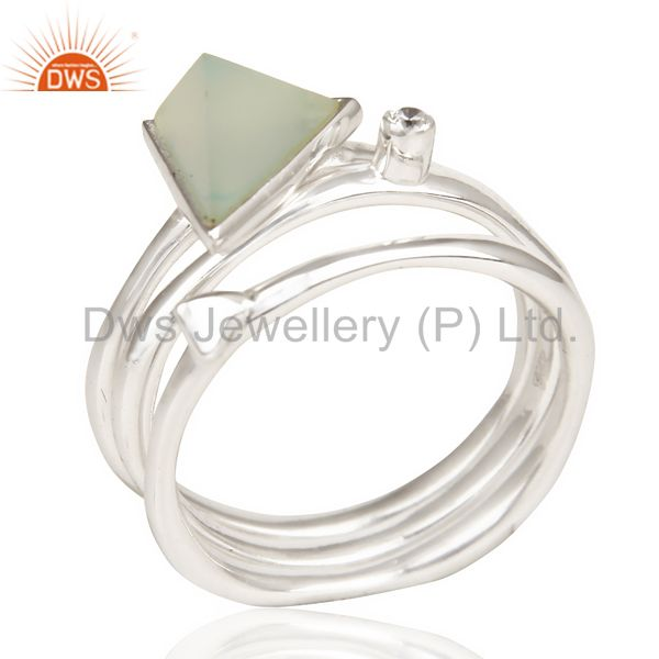 Aqua Chalcedony Triangle Cut Gemstone Stacking Ring 92.5 Sterling Silver Ring