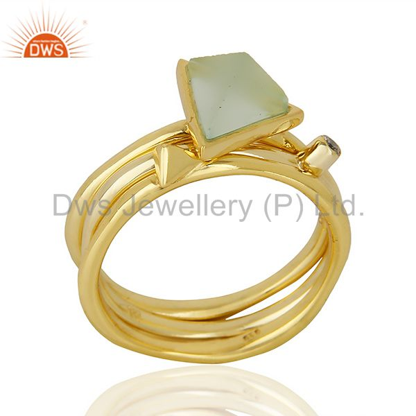 Aqua Chalcedony Triangle Cut Gemstone Stacking 14K Gold Plated 92.5 Silver Ring
