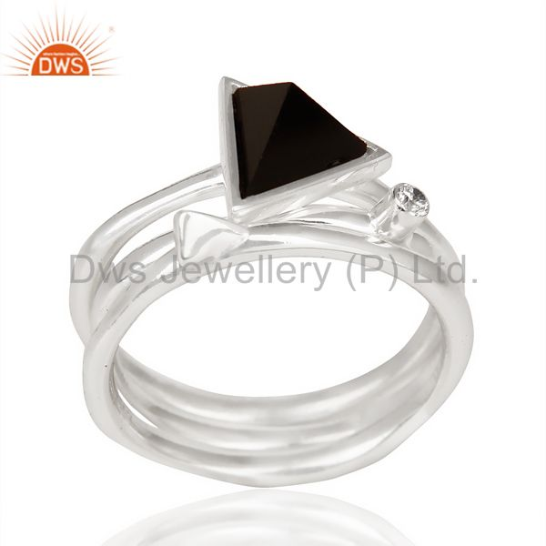 Black Onyx Triangle Cut Gemstone Stacking Ring 92.5 Sterling Silver Ring