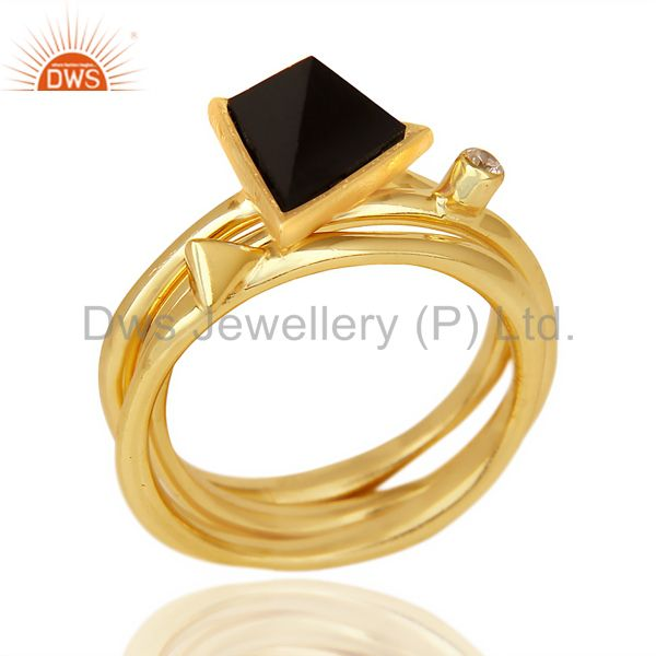 Black Onyx Triangle Cut Gemstone Stacking 14K Gold Plated 92.5 Silver Ring