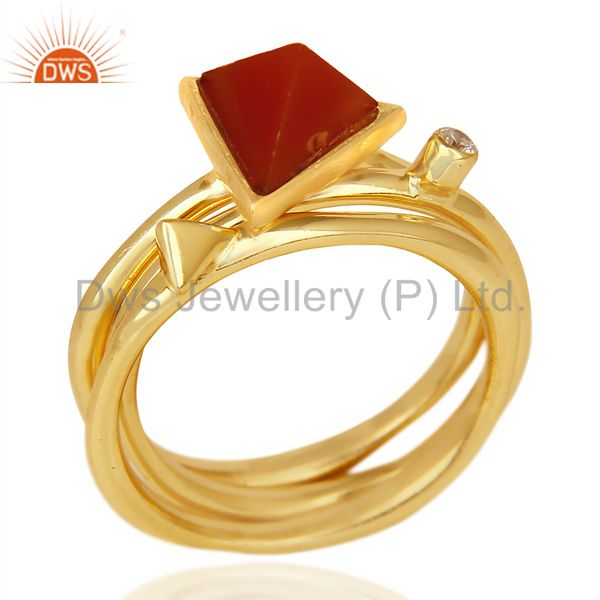 Red Onyx Triangle Cut Gemstone Stacking 14K Gold Plated 92.5 Silver Ring