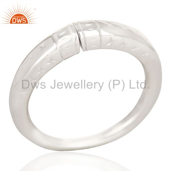 Openable Adjustable European White Rhodium Plated 92.5 Sterling Silver Ring