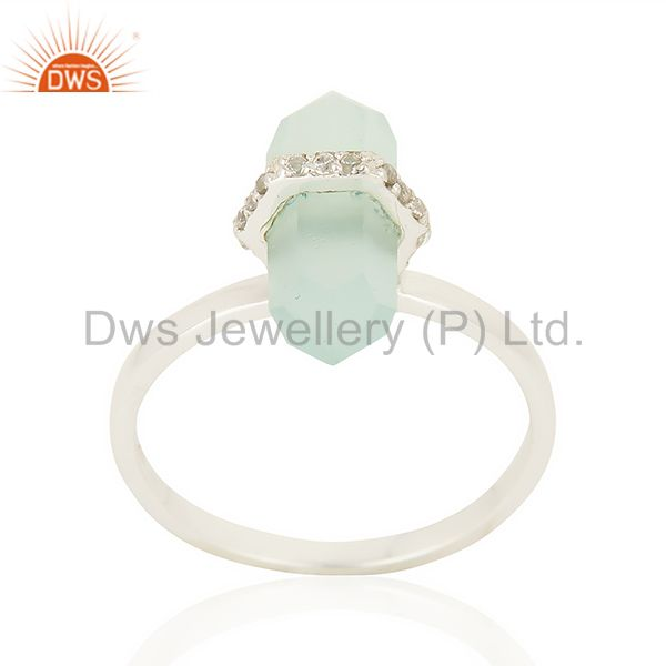 Aqua Chalcedony Cz Studded Double Terminated Pencil 92.5 Sterling Silver Ring