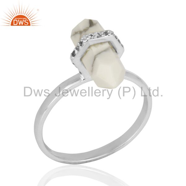 Howlite Cz Studded Double Terminated Pencil 92.5 Sterling Silver Ring