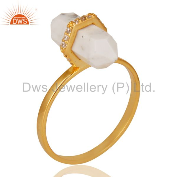 Howlite Cz Studded Double Terminated Pencil Gold Plated Silver Ring