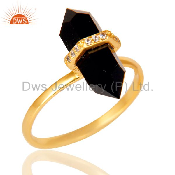 Black Onyx Cz Studded Double Terminated Pencil Gold Plated Silver Ring
