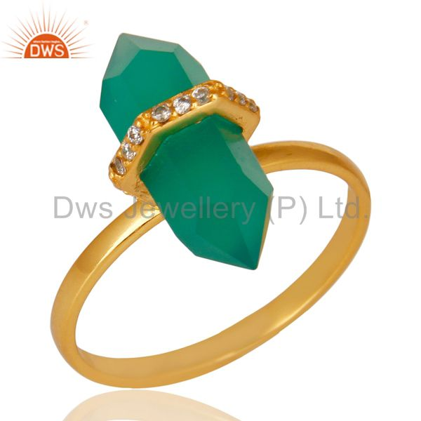 Green Onyx Cz Studded Double Terminated Pencil Gold Plated Silver Ring