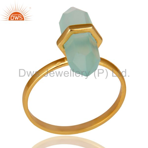 Aqua Chalcedony Terminated Pencil Gold Plated 92.5Stelring Silver Wholesale Ring