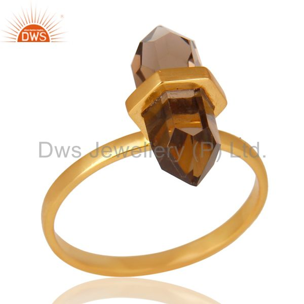 Smoky Topaz Terminated Pencil Gold Plated 92.5 Stelring Silver Wholesale Ring