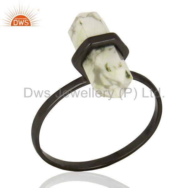 Indian Black Rhodium Plated Silver Howlite Gemstone Ring Jewelry