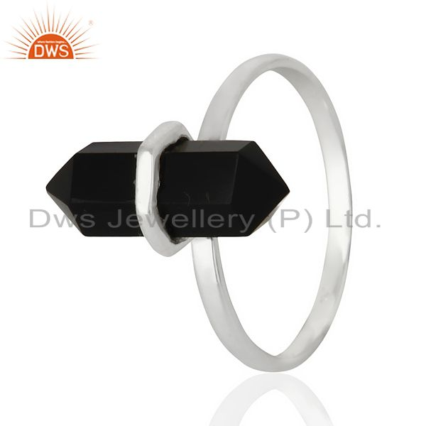 Black Onyx Terminated Pencil 92.5 Stelring Silver Wholesale Ring Jewelry