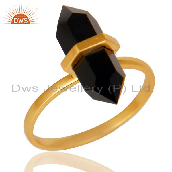 Black Onyx Terminated Pencil Gold Plated 92.5 Stelring Silver Wholesale Ring
