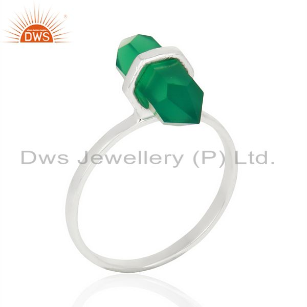 Green Onyx Terminated Pencil 92.5 Stelring Silver Wholesale Ring Jewelry