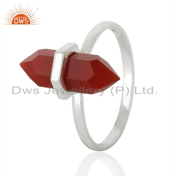 Red Onyx Terminated Pencil 92.5 Stelring Silver Wholesale Ring Jewelry