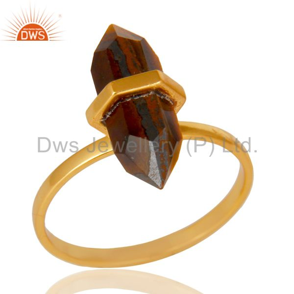 Tigereye Terminated Pencil Gold Plated 92.5Stelring Silver Wholesale Ring